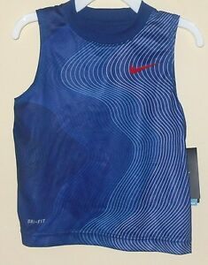 New Nike Boys 2T Dri Fit Blue Athletic Sport Tank Top Sleeveless Shirt