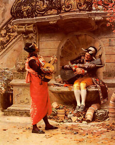Oil painting Vibert_Jean_Georges The Serenade two men portrait playing in street