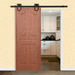 6Ft Steel Sliding Barn Wood Door Hardware Set Rustic Kit Track System Decor New