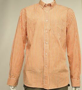 New Brooks Brothers Cotton Long Sleeve Sport Casual Shirt ~OrangeStripe XL
