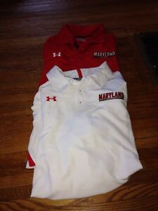 Under Armour Maryland Terrapins Polo Shirt XL Lot Of 2 Red White Heat Gear