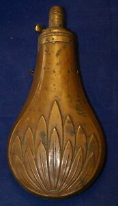 Antique Black Powder Flask Brass and Copper NICE!