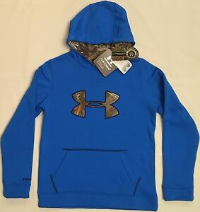 NWT youth Boys' YLG large UNDER ARMOUR hooded sweatshirt STORM1 hoodie camo COLD