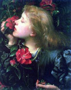 Huge Oil painting Watts George Choosing young girl with roses flowers in spring