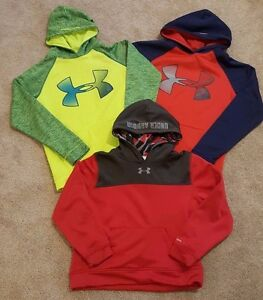 Lot of 3 Boys UNDER ARMOUR STORM Red Navy Blue Volt Hoodie Sweatshirts Youth XL