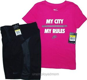 Nike Athletic Shorts Set Youth Girls Active T-Shirt Sports 2 pc Outfit Summer