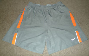 Men's Large L Nike Running Reflective Lined Long Athletic Dri-Fit Gray Shorts