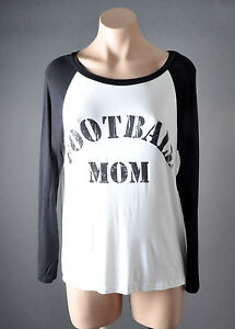 Women Casual White Black FOOTBALL MOM Long Sleeve Shirt Blouse Graphic Top S M L