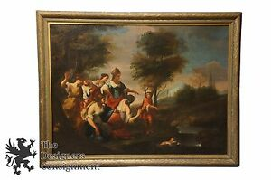 Antique 17th Century Italian Old Master Oil Painting Finding Discovery of Moses