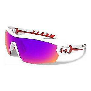 Under Armour 8600090-106451 Rival Shield Sunglasses 42mm - Shiny White  Red