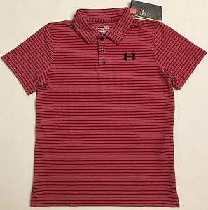 NWT youth Boys' YLG large UNDER ARMOUR knit POLO heatgear GOLF shirt striped