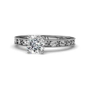 Diamond Heart Embossed Solitaire Engagement Ring 1.00ct 14K White Gold JP:119504
