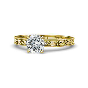 Diamond Heart Embossed Solitaire Engagement Ring 1 ct 14K Yellow Gold JP:119505