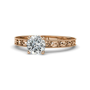 Diamond Heart Embossed Solitaire Engagement Ring 1 ct 14K Rose Gold JP:119506