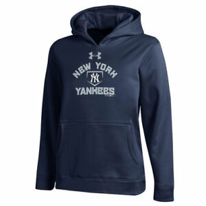 New York Yankees Under Armour Youth Armour Fleece MLB Hoodie - Navy - MLB