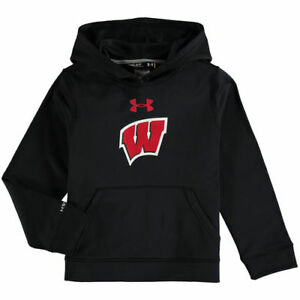 Wisconsin Badgers Under Armour Youth Pullover Performance Hoodie - Black - NCAA