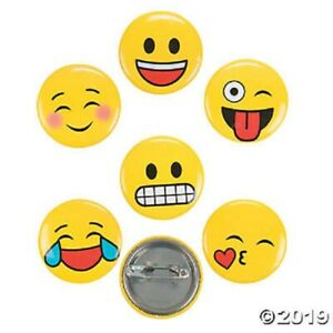48 Metal Emoji Mini Buttons Pin Back Yellow Smile Face Giveaways Party Favors
