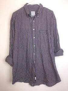 BROOKS BROTHERS Men's SIZE XL Blue Checked Casual SPORT SHIRT Button Up Front