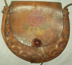 LEATHER Saddle Bag Black Powder Possible Field Pouch Hunting Mountain Woman Man