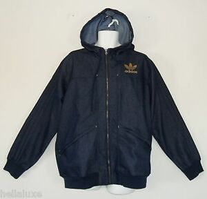 NWT~Adidas INDIGO DENIM Hoody flock Track Sweat shirt Top Jacket firebird~Men XL
