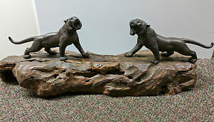 Japanese MEIJI period   Bronze Stripped Tigers on original wood base.