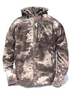 Cabela#x27;s Men#x27;s Lookout Series Fleece Hooded Silent Hunting Jacket O2 Octane Camo