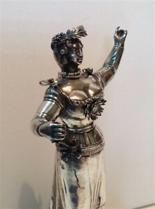 Antique sculpture silver statue woman goddess pearl amp; gold 18th 19th m1072 $3300.00