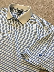 GORGEOUS NIKE GOLF FIT DRY WICKING BLUE STRIPE POLO SHIRT L LARGE COST £70