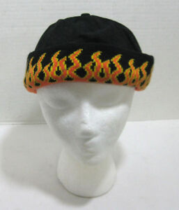 Men's Adjustable Black Bullet Cap Beanie Orange Flames on Cuff Biker Hat Winter