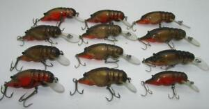 BN31) 12 VINTAGE BAGLEY SMALL FRY CRAYFISH FISHING LURES ALL BRASS HARDWARE