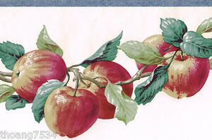 Fruit Red Apple Apples Die Cut Kitchen Country Sculptured Blue Wall paper Border