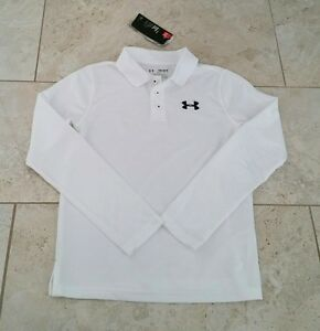 New Under Armour UPF 30 Youth Boys Golf Polo White Shirt T-Shirt Large