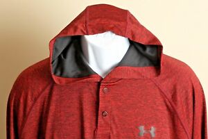 Men's red and black flecked Under Armour heat gear Hoodie hooded shirt XL EUC