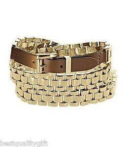 MICHAEL KORS GOLD WATCH LINK+BROWN LEATHER MULT-WRAP BELT STYLE BRACELET-MKJ1946