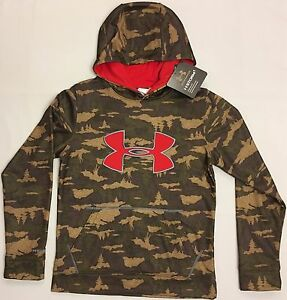 NWT youth Boys' YSM small UNDER ARMOUR hooded sweatshirt COLDGEAR hoodie camo