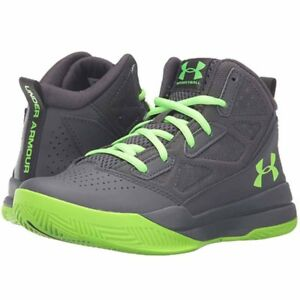 NEW YOUTH KIDS BOYS UNDER ARMOUR UA BGS JET MID BASKETBALL SHOES 7 7Y GRAY GREEN