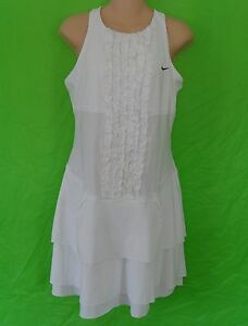 RARE~Nike RUFFLE TENNIS DRESS Maria Sharapova Wimbledon Dri fit shirt Women sz M