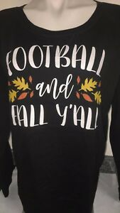 Air Waves Womens T-shirt Large Black Fall Football Coffee Tee Slouchy Pullover