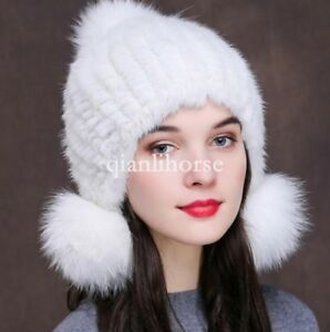 NEW womens 100% real fox fur pompom genuine mink fur knitted hats Xmas Gift caps