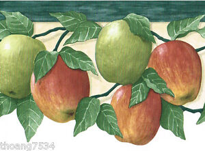 Fruit Red Green Apple Apples Die Cut Kitchen Country Wall paper Border 7460777