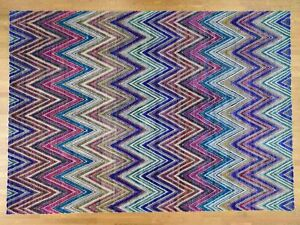 9'10''x13'9'' Hand-Knotted Chevron Design Sari Silk Oxidized Wool Rug R38742