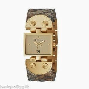 NEW-MICHAEL KORS BEIGEBROWN PYTHON LEATHER+GOLD TONE BRACELET WATCH MK2114