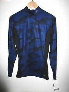 CHAMPION THERMAL KNIT SHIRT Women's Large Blue Black Print Long Sleeve Top NWT
