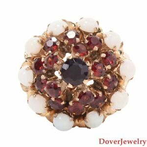 Vintage 2.60ct Garnet Opal 14K Yellow Gold Dome Cocktail Ring 5.8 Grams NR