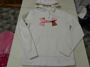 UNDER ARMOUR  STORM COLDGEAR WHITE W CAMO LOGO  HOODIE  WOMENS SMALL SEMI FITTED