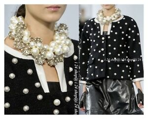 CHANEL 13P BLACK TWEED JACKET  LEATHER TRIM PEARL BROOCH  STUDDED 44 NEW