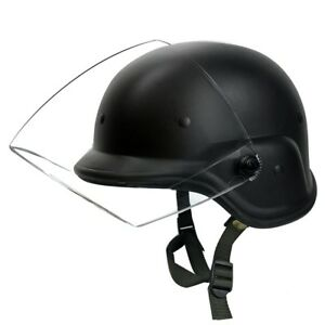 Durable Black Clear Visor Tactical Military Airsoft Swat Protective Helmet New