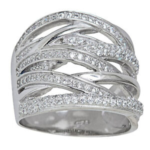Sterling Silver Micropave CZ Multi-strand Cocktail Ring