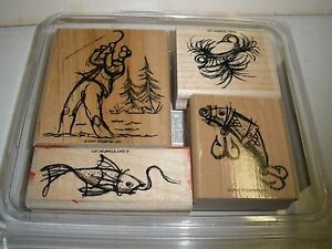 Stampin Up ON THE FLY Fishing Angler Fisherman Lures Fish Water Rubber Stamp Set