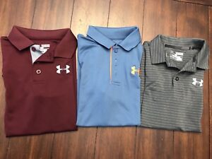 Lot Of 3 Under Armour Boys Golf Shirts Size M (10-12)